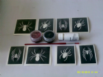 Spider themed glitter tattoo set - 30 mixed spiders + 2 colours + glue Halloween scary spooky gothic creepy